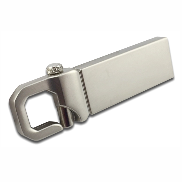 Carabiner Hook Thumb Drive with Silver Body