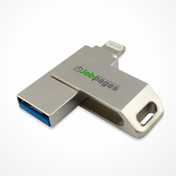 Flip metal USB flash drive with OTG connector