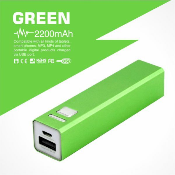 Tube power bank 2200mAh in green colour from Easydrive Malaysia