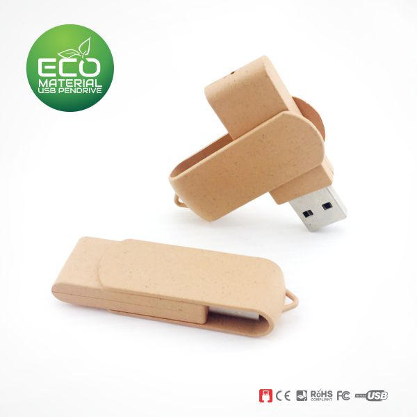 Wheat Straw Swivel USB pen drive supplier Malaysia